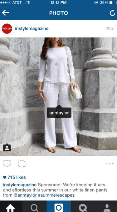 In Style Sponsored Insta Post