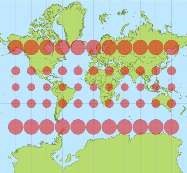 Distorsiones en la proyección de Mercator
