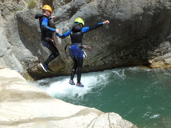 Family canyoning in the alps