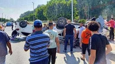 صورة إصابة 14 شخصًا في تصادم سيارتين على طريق «دمياط – المنصورة» الشرقي