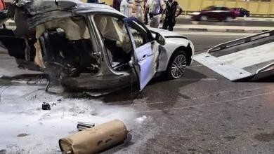 صورة حادث مروع على طريق القاهرة السويس انقسام سيارة لنصفين