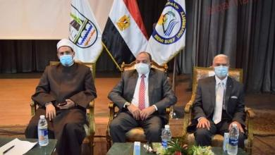 """صورة رئيس جامعة بني سويف يشهد إحتفالية """"رسول الإنسانية المعلم والقدوة"""" وترجمتها بلغة الإشارة"""