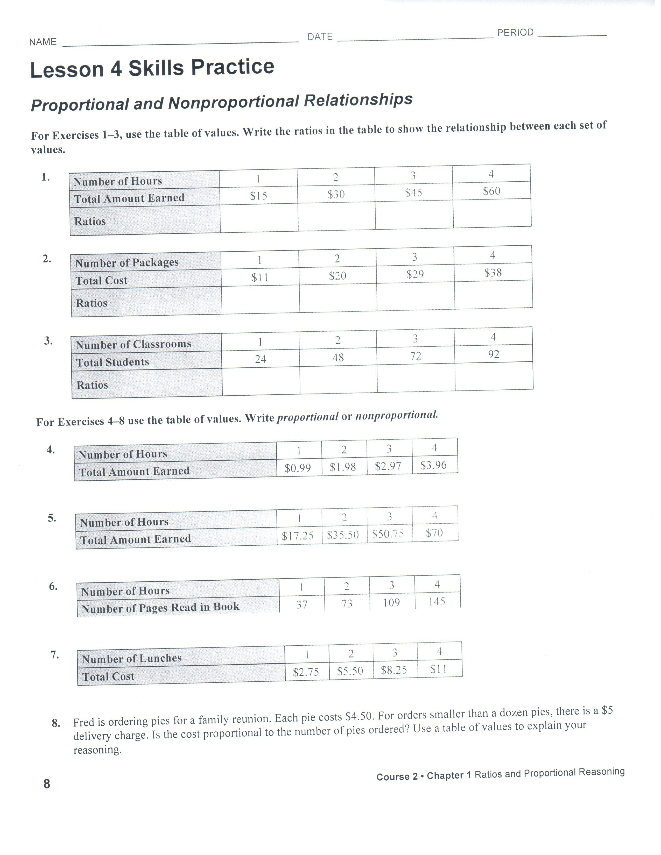 4 Images Lesson 4 Skills Practice Ratio Tables Answer Key