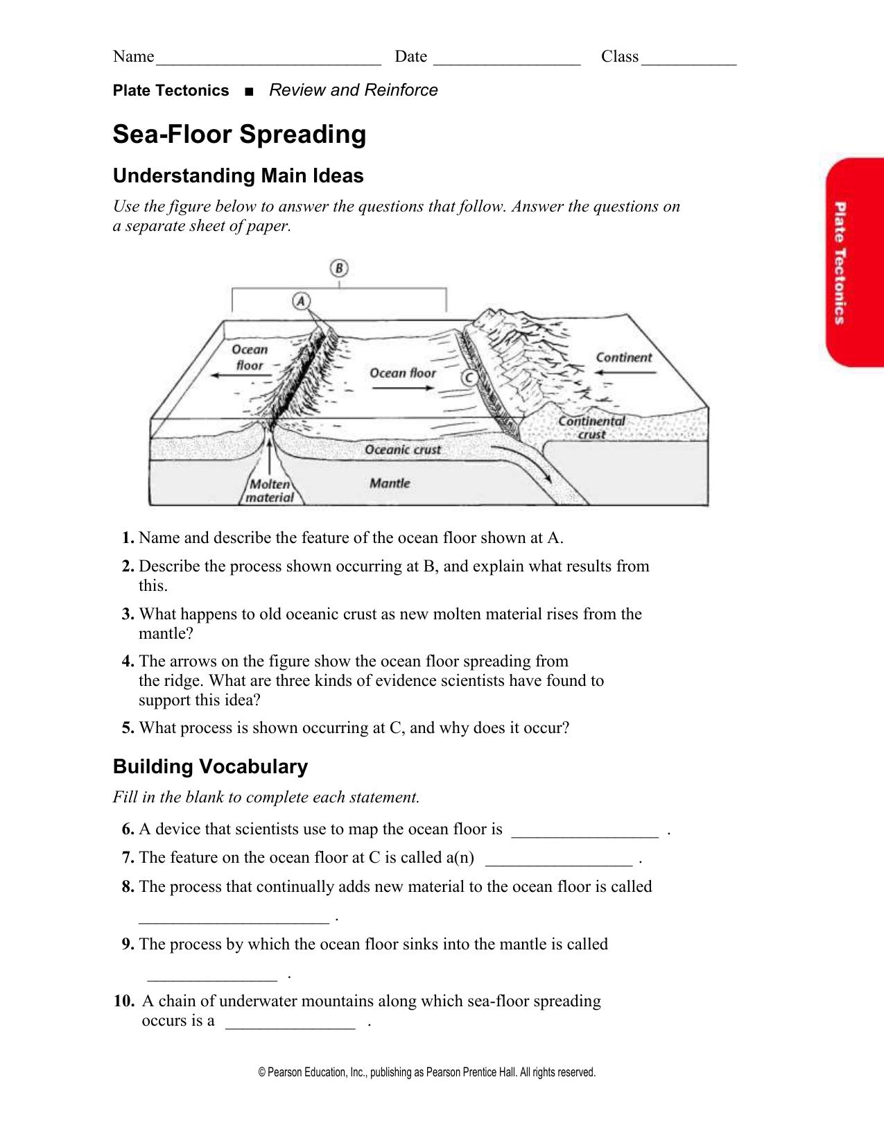 8 Pics Sea Floor Spreading Worksheet Answer Key Pearson