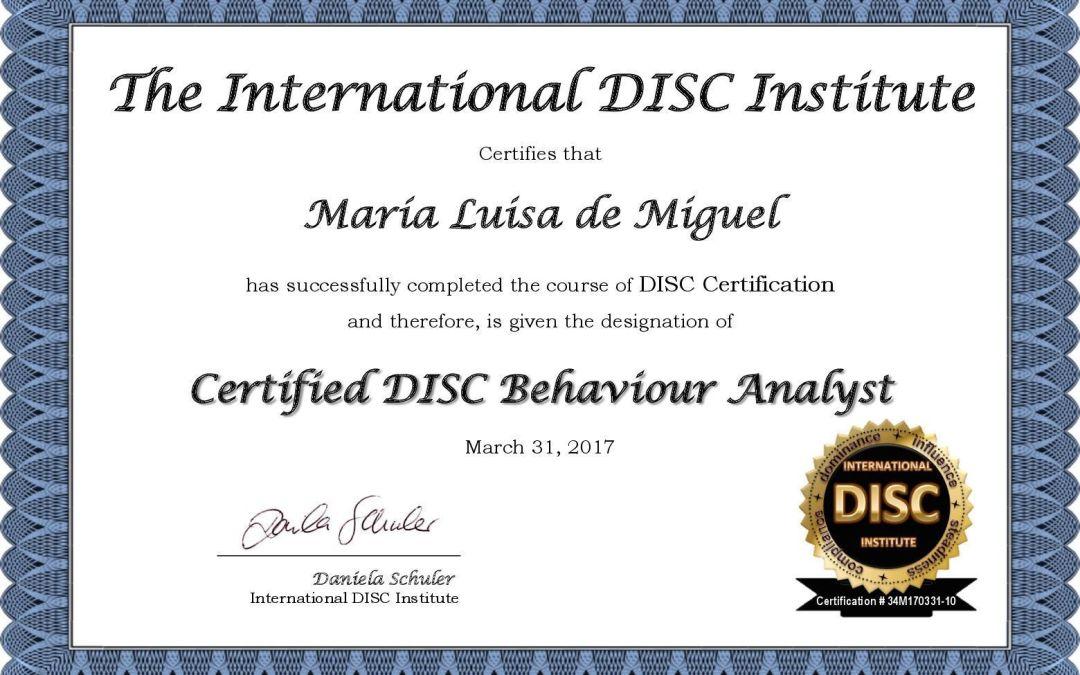 Certificación internacional como analista de conducta DISC