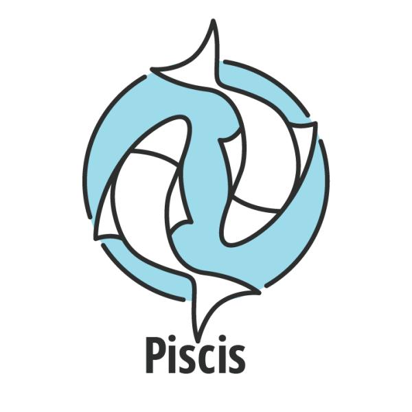 Signo zodiaco Piscis sobre fondo azul.