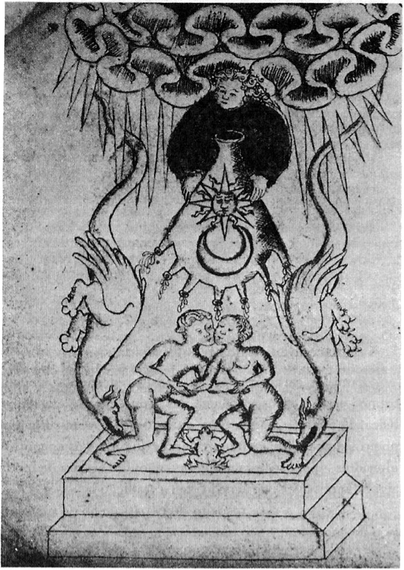 """A conjunção dos princípios opostos. (Iluminura do manuscrito """"De erroribus"""", de John Dastin, século XV, British Museum; foto Gallery 43, Londres.)"""