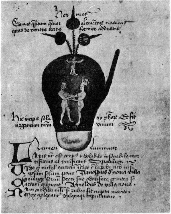 O Rei e a Rainha no Ovo Filosófico. (Manuscrito alquímico de Johannes Andreae, século XV; Londres, British Museum.)
