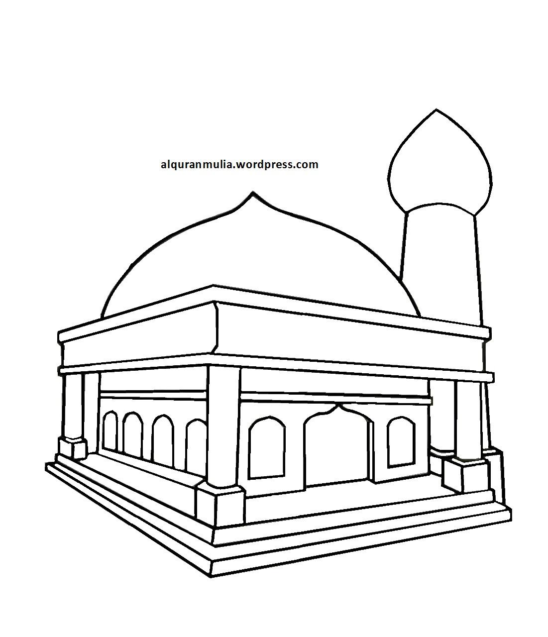 Kumpulan Gambar Masjid Kartun Hitam Putih Terbaru