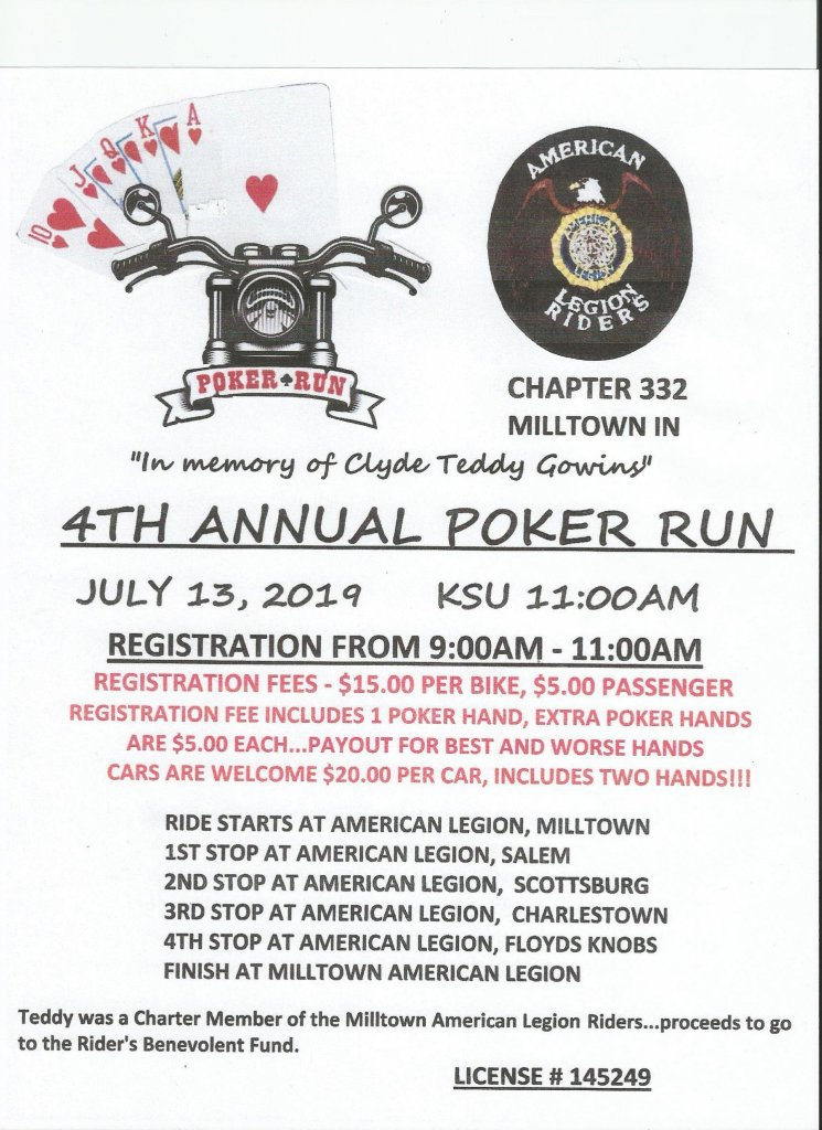 2019 Milltown Poker Run Flyer