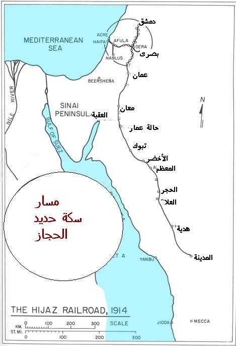 خريطة سكة حديد الحجاز