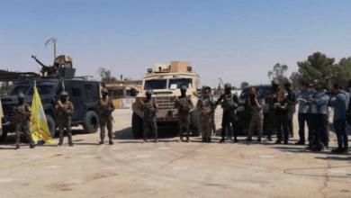 صورة قوات عسكرية كبيرة لقسد بحماية من طيران التحالف تحاصر قرية أبو النيتل شمال ديرالزور