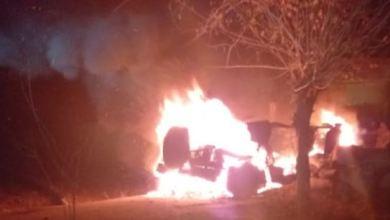 صورة تفجير يستهدف عربة عسكرية لميليشيا قسد شرق ديرالزور