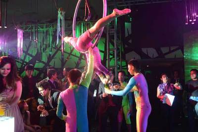 ring dance at circus themed debut event