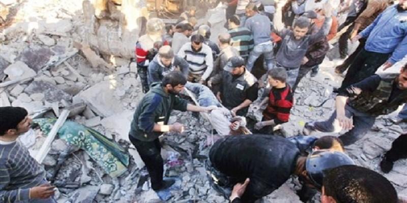 مجزرة يرتكبها الطيران الروسي ونظام بشار في سوريا