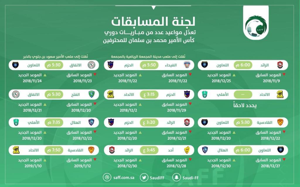 المسابقات تؤجل وتغير مواعيد في جدول الدوري