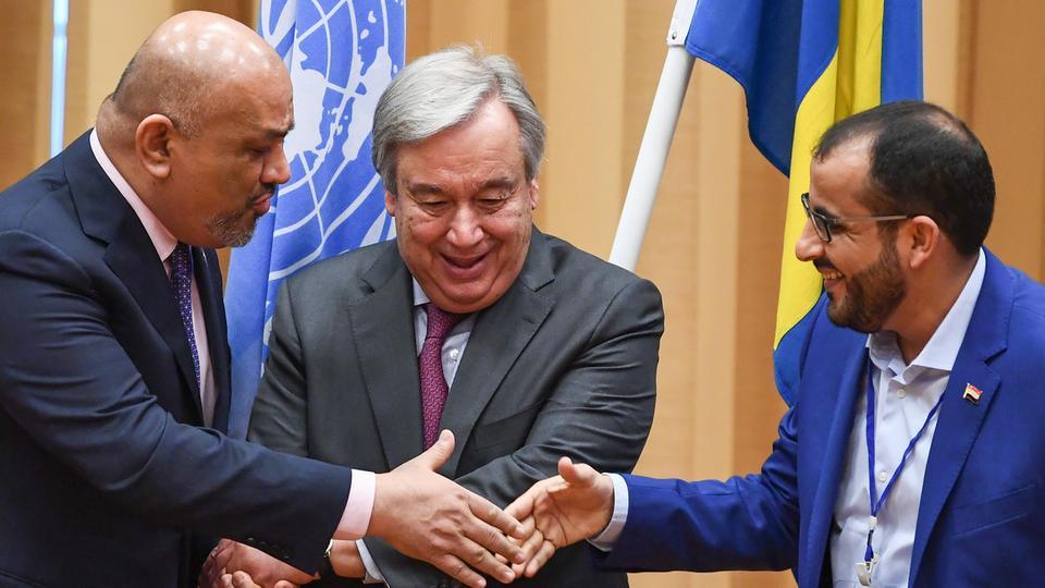 توقيع اتفاق الحديدة بين حكومة اليمن الشرعية والحوثيين