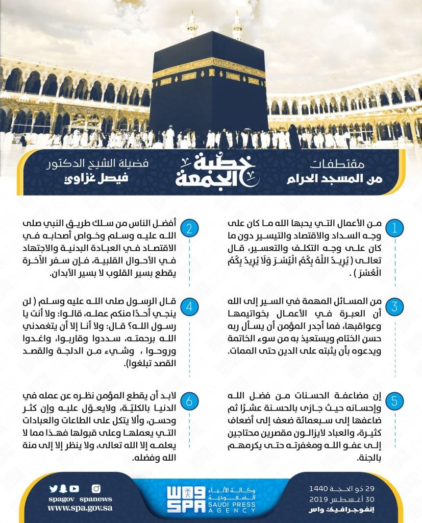 إمام وخطيب المسجد الحرام: لن ينجي احد منكم عمله