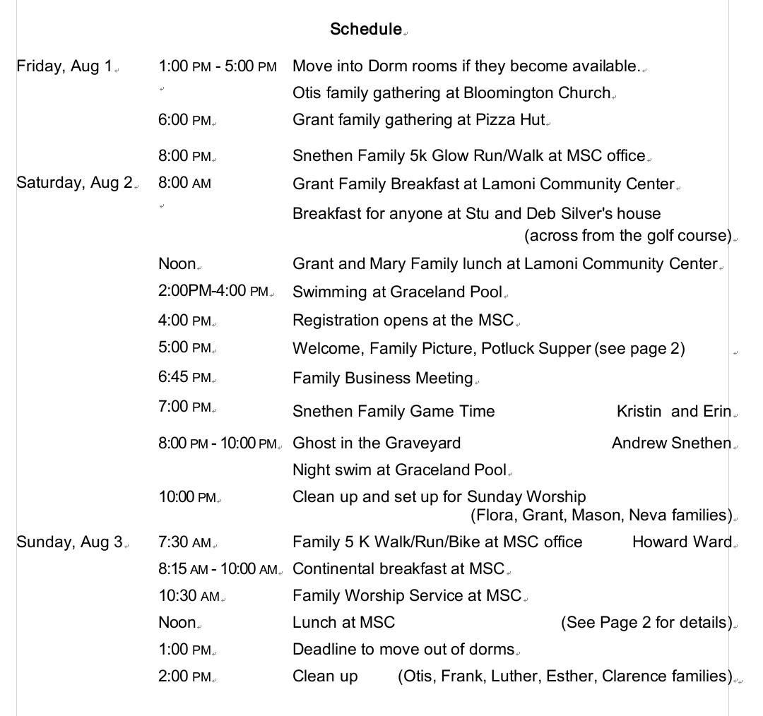 Snethen Family Events