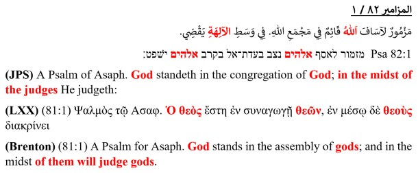 الله قائم في مجمع الله