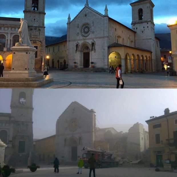 Antes y después: Centro de Norcia, uno de los municipios afectados por el terremoto