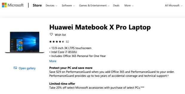 Microsoft retira las portátiles Huawei Matebook de sus tiendas en Estados Unidos