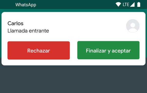 WhatsApp llamada en espera
