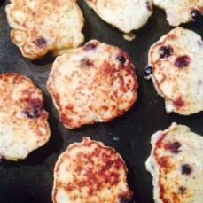 Lemon & Blueberry Pancakes Cooking in Pan