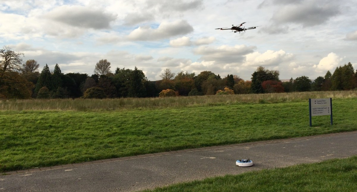 Drone following a roomba