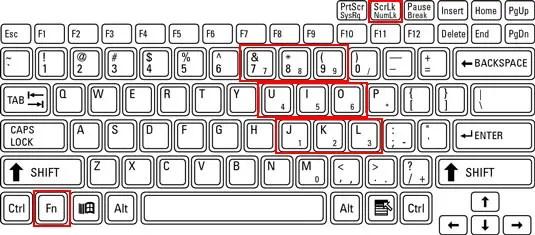 Numeric keypad on laptop keyboard
