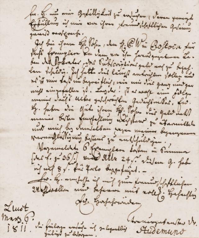 Letter from the referend of the Biestow church in a difficult to decipher old German handwriting page 2