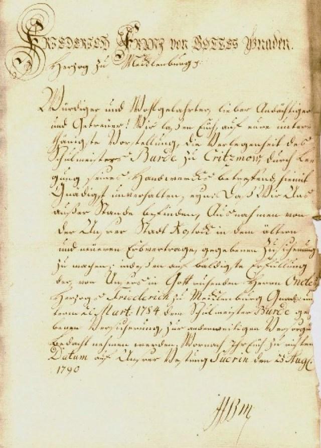 Brief von Herzog Friedrich Franz I. in schöner altdeutscher Handschrift