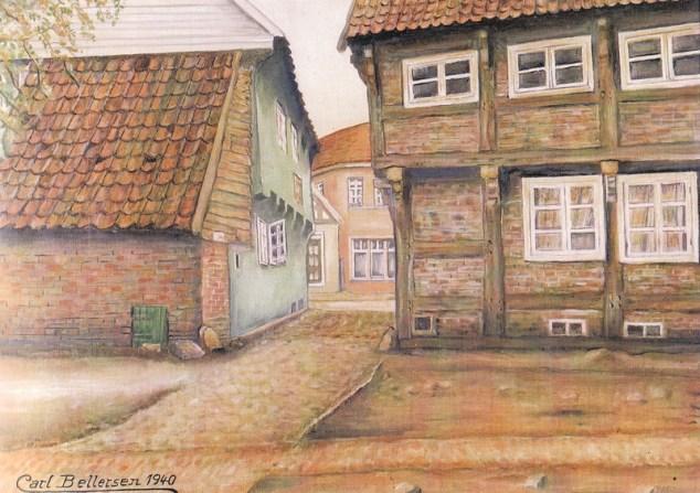 """-21- Blick vom Kirchplatz durch den """"Schemden Gang"""" auf Weiß/Bahlmann (Am Markt) Öl auf Sperrholz, ca. 50x35cm, Carl Bellersen, im Besitz der Familie Weiß"""