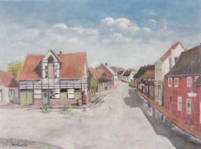 -73- Am Markt 18, ein Ausschnitt aus der Situation am Markt, Blickrichtung Burgstraße. Öl auf Leinen, ca. 60x45cm von Franz Ruckes aus den 50er Jahren, im Besitz des Heimatvereins.