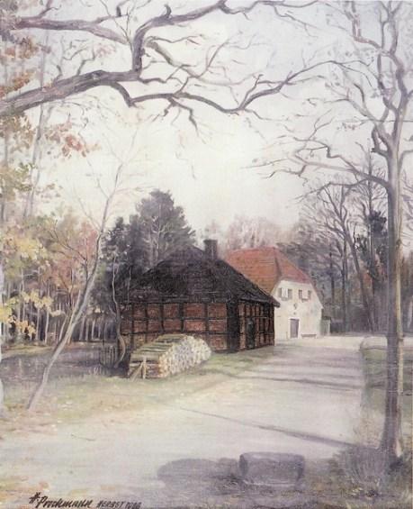 -63- Wassermühle an der Burg, heute Forsthaus, 1966, Öl auf Leinen; ca. 38x48cm, H. Prochmann, im Besitz von F. Schulte