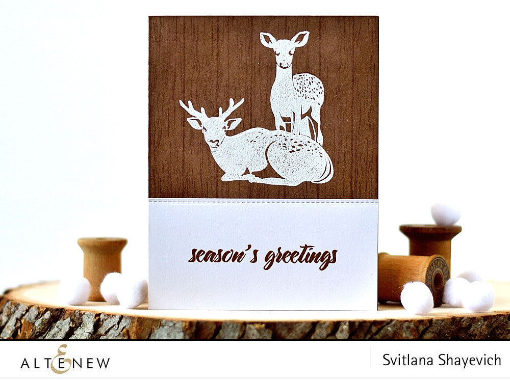 @altenew Modern Deer, Woodgrain. Card by @s_shayevich