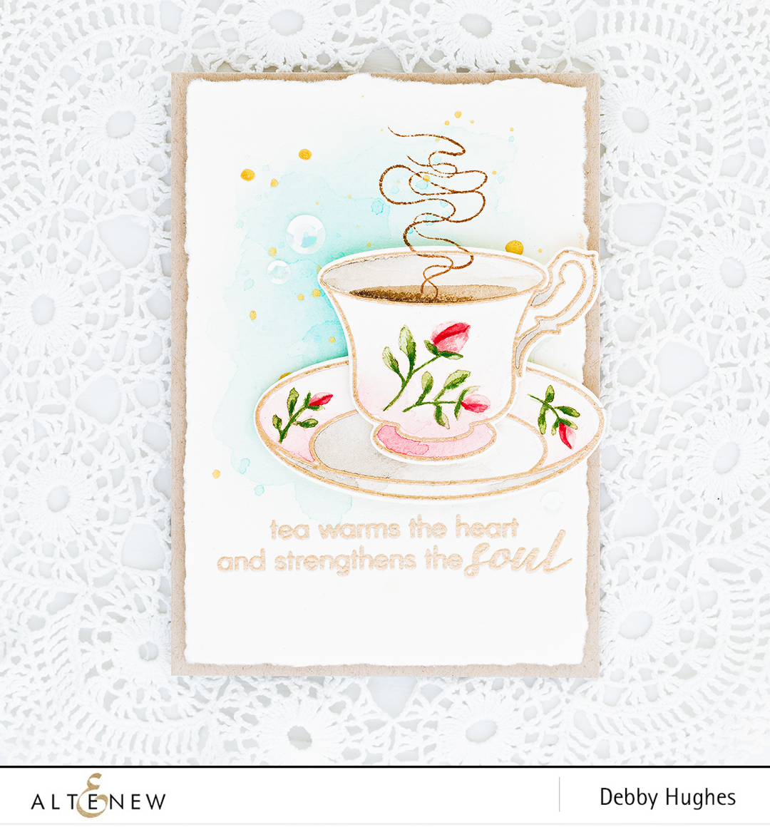 Debby shares a step by step video tutorial on how to heat emboss and watercolor the beautiful Vintage Teacup set. Find out more about this card by clicking on the following link: https://altenewblog.com/2016/11/19/video-vintage-teacup-watercolor/