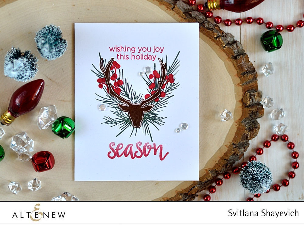 @Altenew Antlers and Pine. Card by @s_shayevich