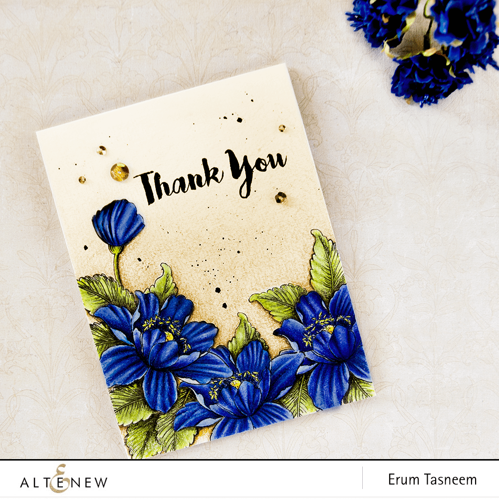 Altenew Garden Treasure stamp set. One layer pencil colored card by @pr0digy0