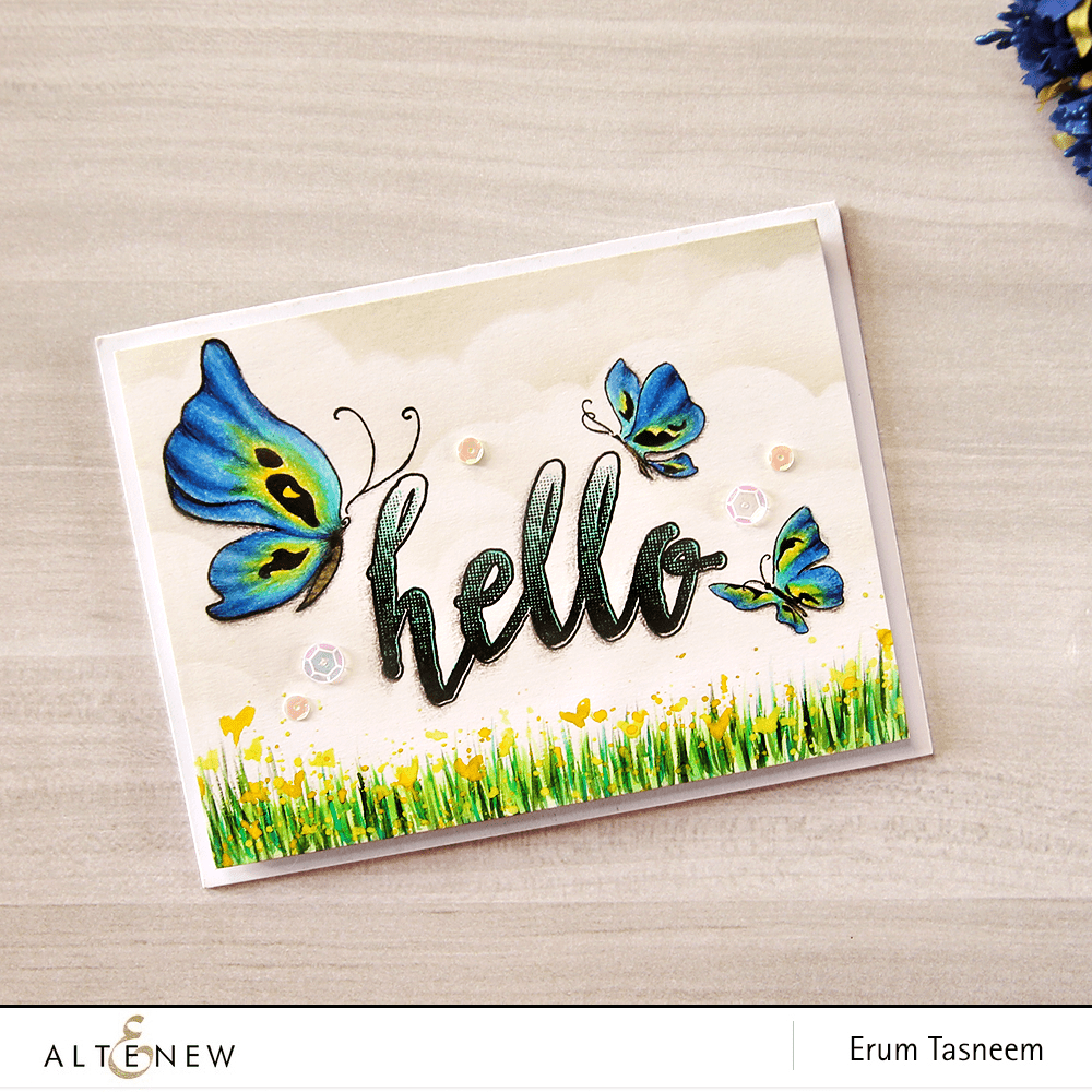 Altenew Painted Butterflies Stamp Set Pencil Coloured. Card by @pr0digy0