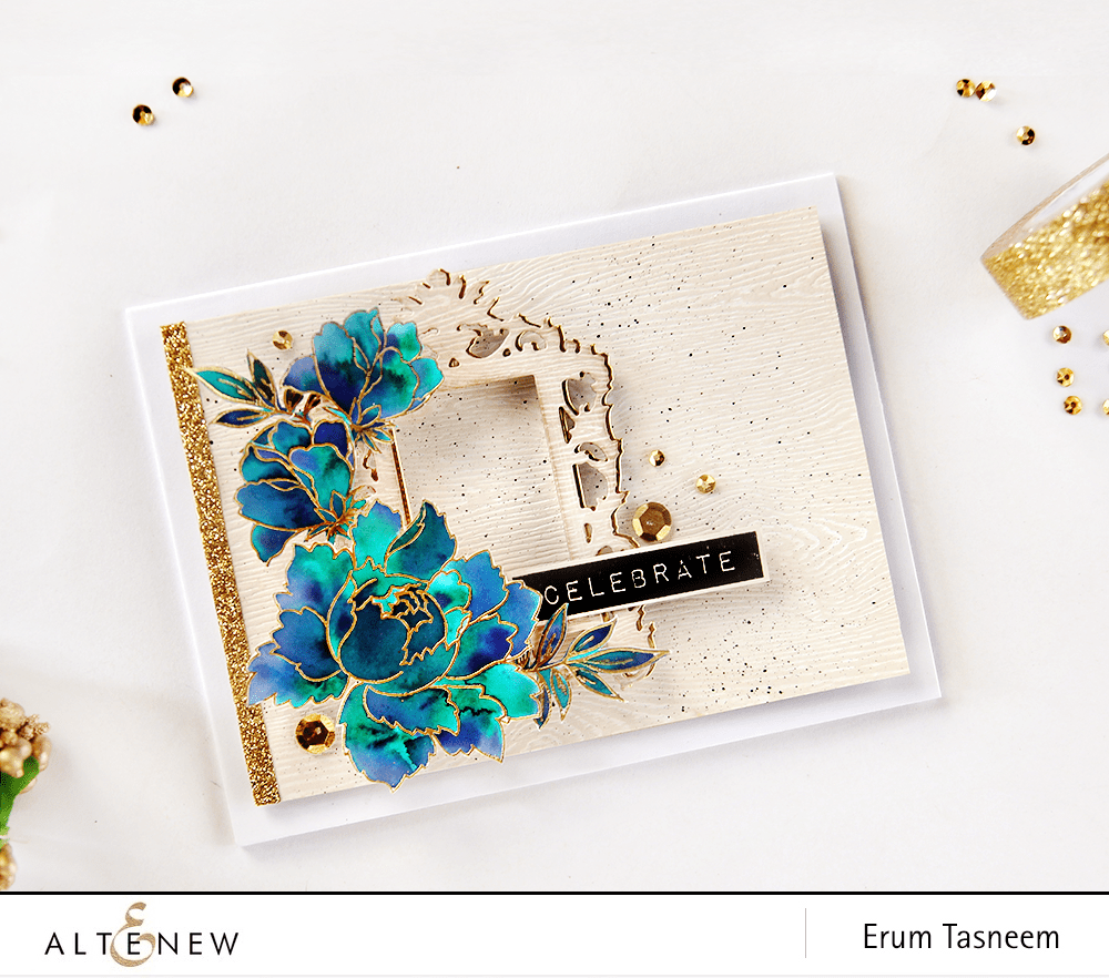 Altenew Peony Bouquet stamp set watercoloured+Label Love stamp set+Ornate frame die from New Day Card Kit by @pr0digy0