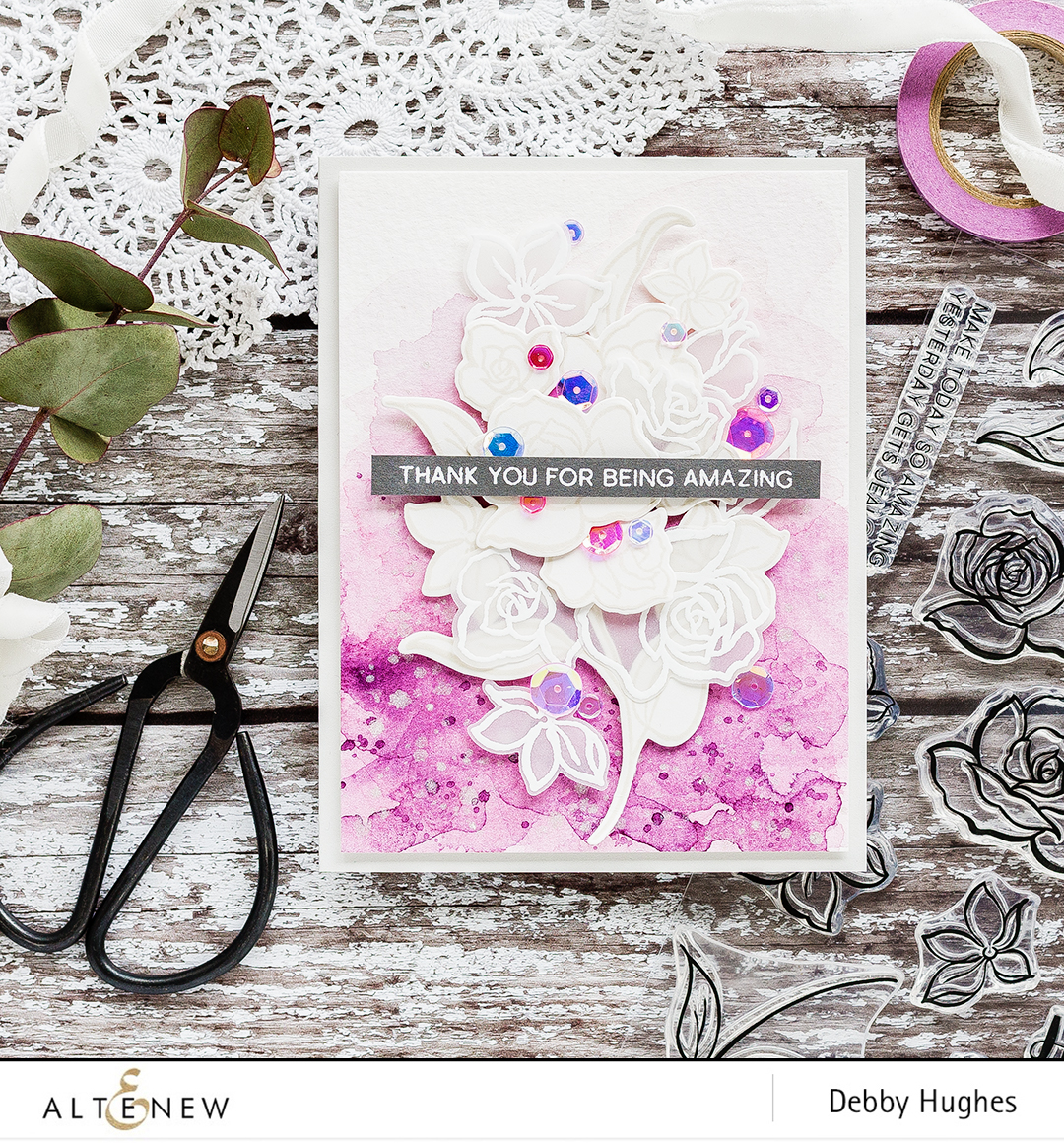 June 2017 Altenew Inspiration Challenge with Debby Hughes. Find out more by clicking the following link: http://altenewblog.com/2017/05/28/june-2017-inspiration-challenge-white-on-white-focal-point/
