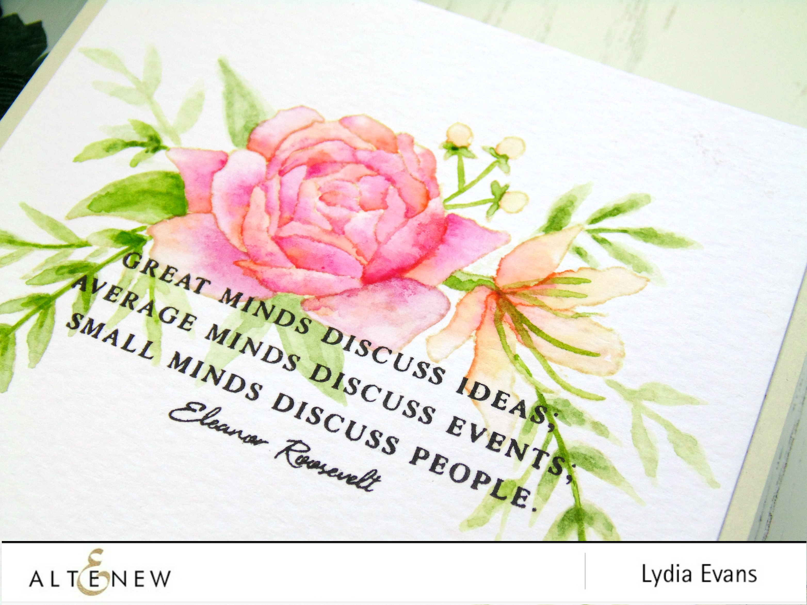 Beautiful quotes archives altenew blog to start i stamped the floral cluster from floral frame stamp set in a very light ink on to some watercolour cardstock i then added some of the leaf izmirmasajfo