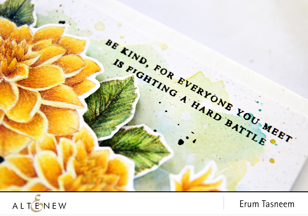No Line Pencil Colouring on Dahlia Blossoms Stamp Set by Altenew using Prismacolors by Erum Tasneem - @pr0digy0