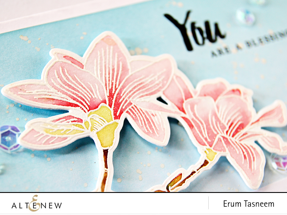Eight different looks and colouring techniques featuring Altenew Build-A-Flower Magnolia by Erum Tasneem - @pr0digy0 This features altenew crisp embossing powder and watercolouring.