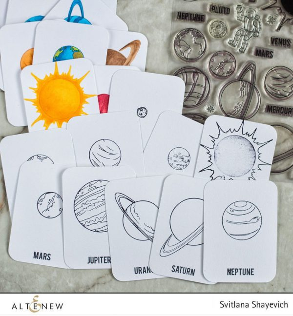 Solar System Flash Cards with Space Travel Stamp Set ...