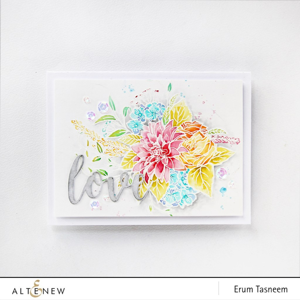 Altenew Blooming Bouquet Stamp Set and Script Words Die Set. Watercoloured card by Erum Tasneem @pr0digy0