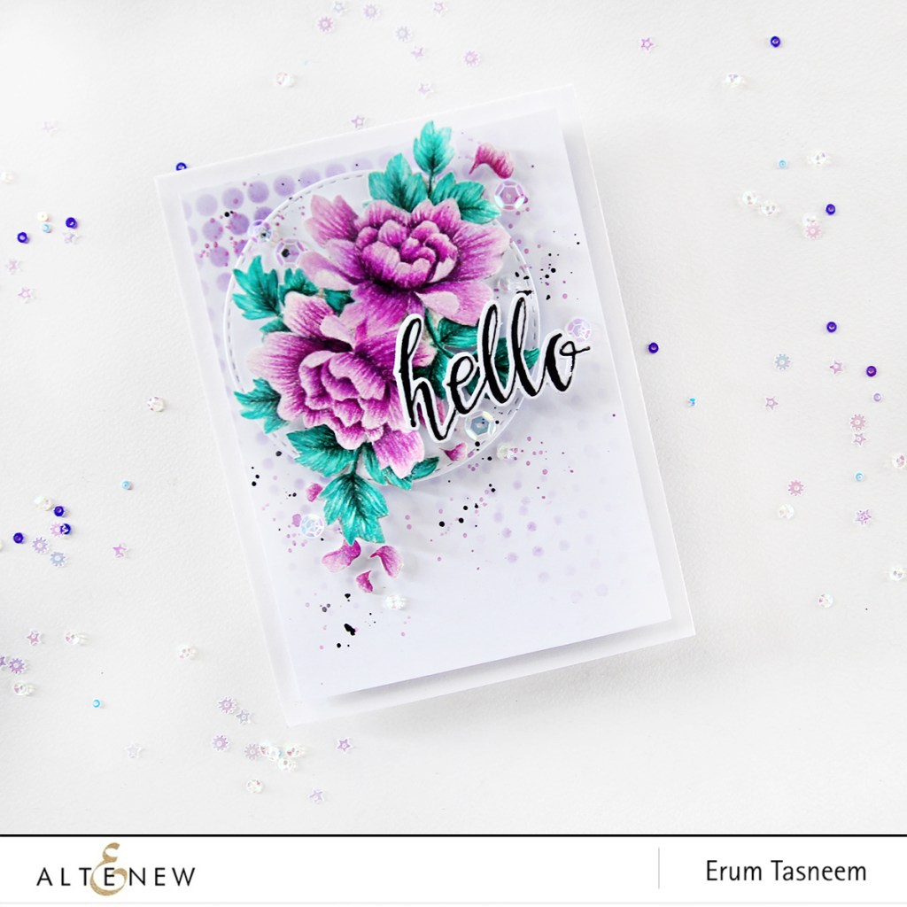 Altenew Peony Scrolls Stamp Set no-line pencil colouring using Prismacolors and Halftone Hello Stamp Set by Erum Tasneem - @pr0digy0
