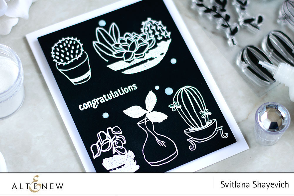 White Embossing On Black. Altenew Indoor Garden. Card by @craftwalks
