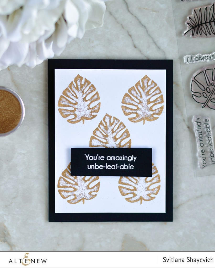 Gold Embossed Monstera. Altenew Parrot Paradise Stamp Set. Card by @craftwalks